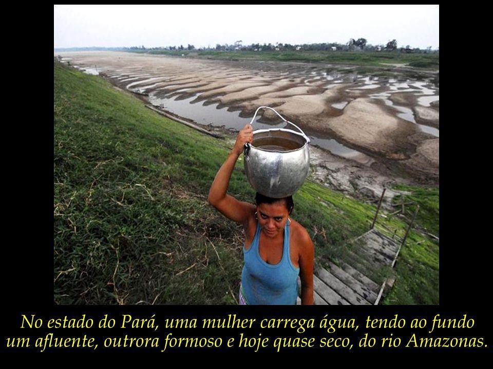 No estado do Pará, uma mulher carrega água, tendo ao fundo um afluente, outrora formoso e hoje quase seco, do rio Amazonas.