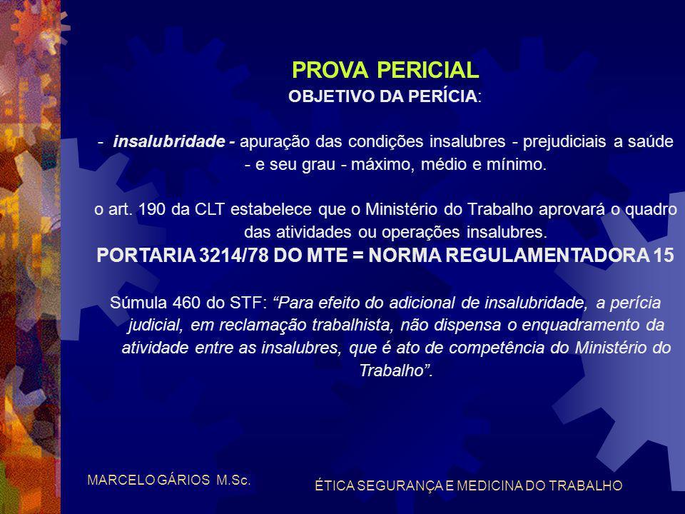 PROVA PERICIAL PORTARIA 3214/78 DO MTE = NORMA REGULAMENTADORA 15