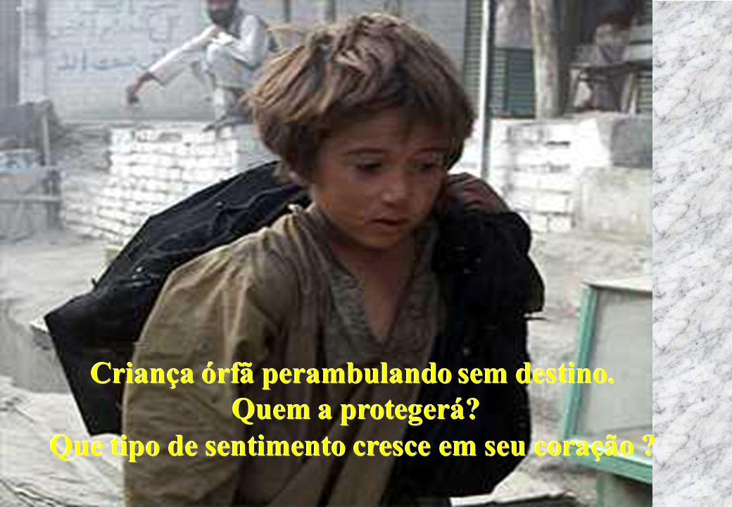 Criança órfã perambulando sem destino. Quem a protegerá