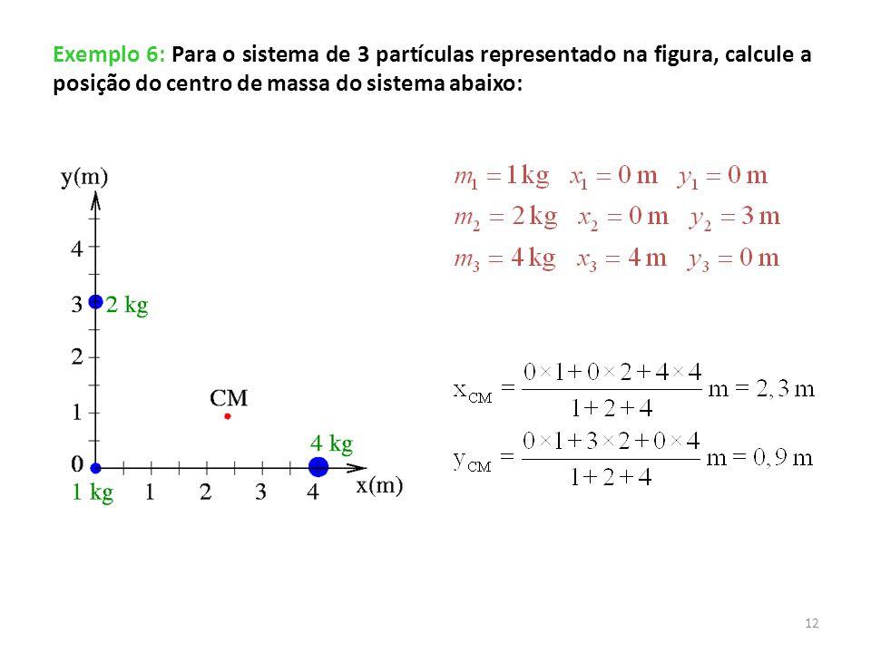 Exemplo 6: Para o sistema de 3 partículas representado na figura, calcule a posição do centro de massa do sistema abaixo: