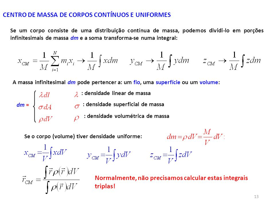 CENTRO DE MASSA DE CORPOS CONTÍNUOS E UNIFORMES