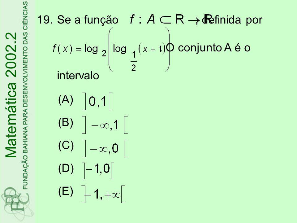 Se a função , definida por . O conjunto A é o intervalo