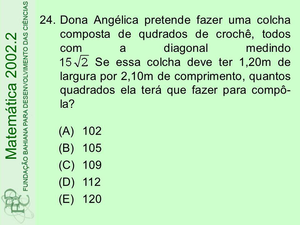 Dona Angélica pretende fazer uma colcha composta de qudrados de crochê, todos com a diagonal medindo . Se essa colcha deve ter 1,20m de largura por 2,10m de comprimento, quantos quadrados ela terá que fazer para compô-la