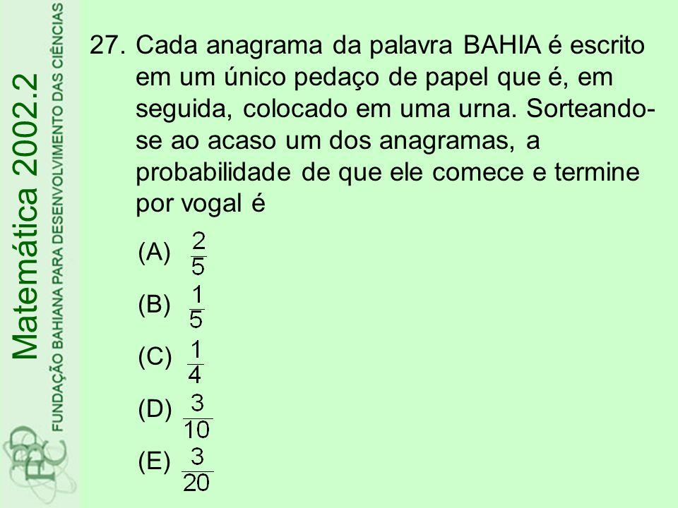 Cada anagrama da palavra BAHIA é escrito em um único pedaço de papel que é, em seguida, colocado em uma urna. Sorteando-se ao acaso um dos anagramas, a probabilidade de que ele comece e termine por vogal é