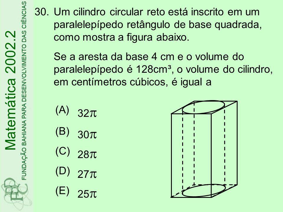 Um cilindro circular reto está inscrito em um paralelepípedo retângulo de base quadrada, como mostra a figura abaixo. Se a aresta da base 4 cm e o volume do paralelepípedo é 128cm³, o volume do cilindro, em centímetros cúbicos, é igual a
