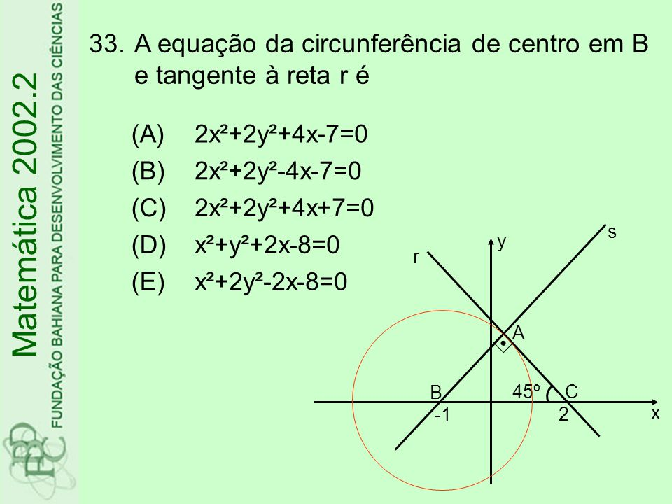 A equação da circunferência de centro em B e tangente à reta r é