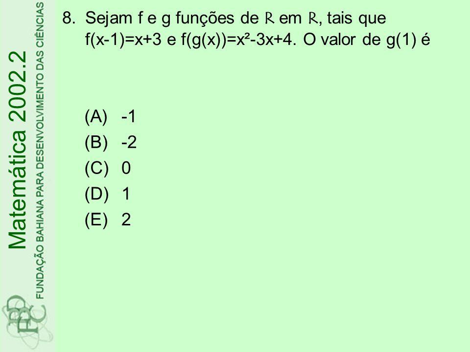 Matemática 2002.2 (A) -1 (B) -2 (C) (D) 1 (E) 2