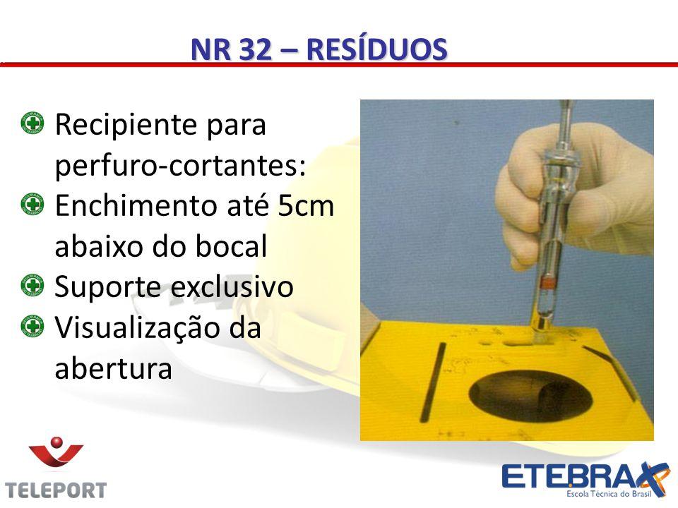NR 32 – RESÍDUOS Recipiente para perfuro-cortantes: Enchimento até 5cm abaixo do bocal. Suporte exclusivo.