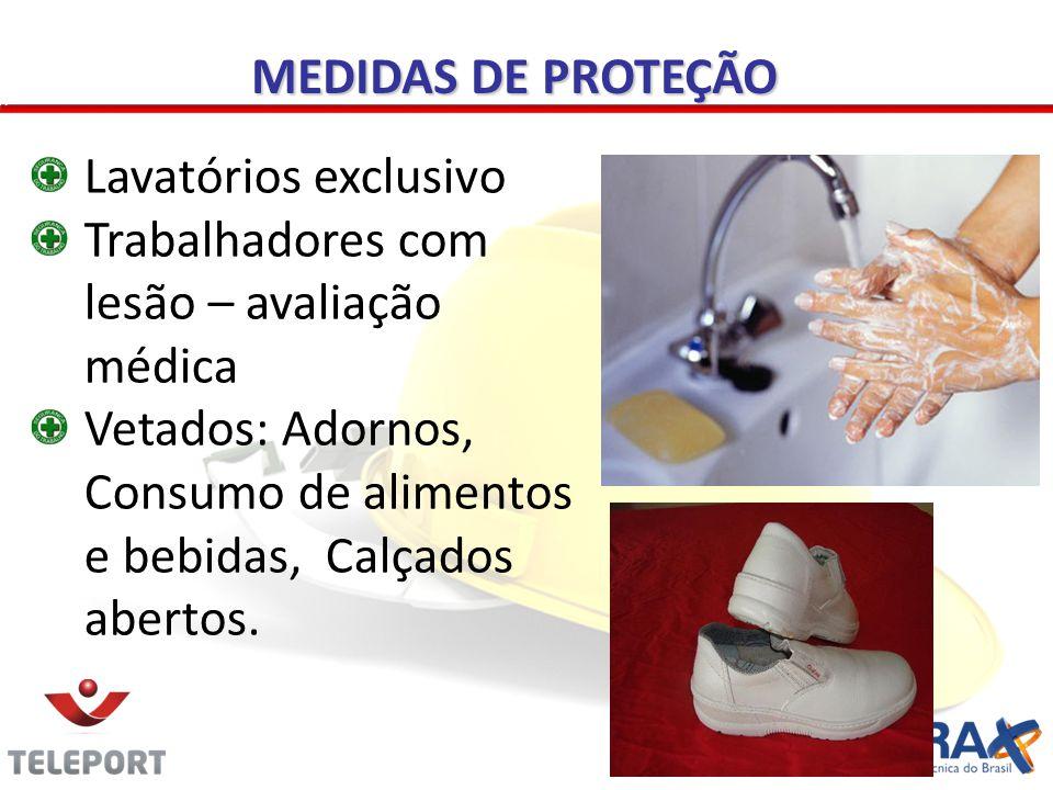 MEDIDAS DE PROTEÇÃO Lavatórios exclusivo. Trabalhadores com lesão – avaliação médica.