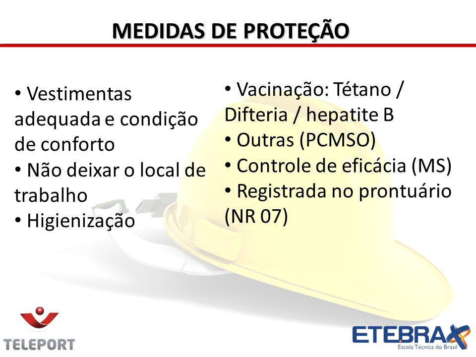 MEDIDAS DE PROTEÇÃO Vacinação: Tétano / Difteria / hepatite B