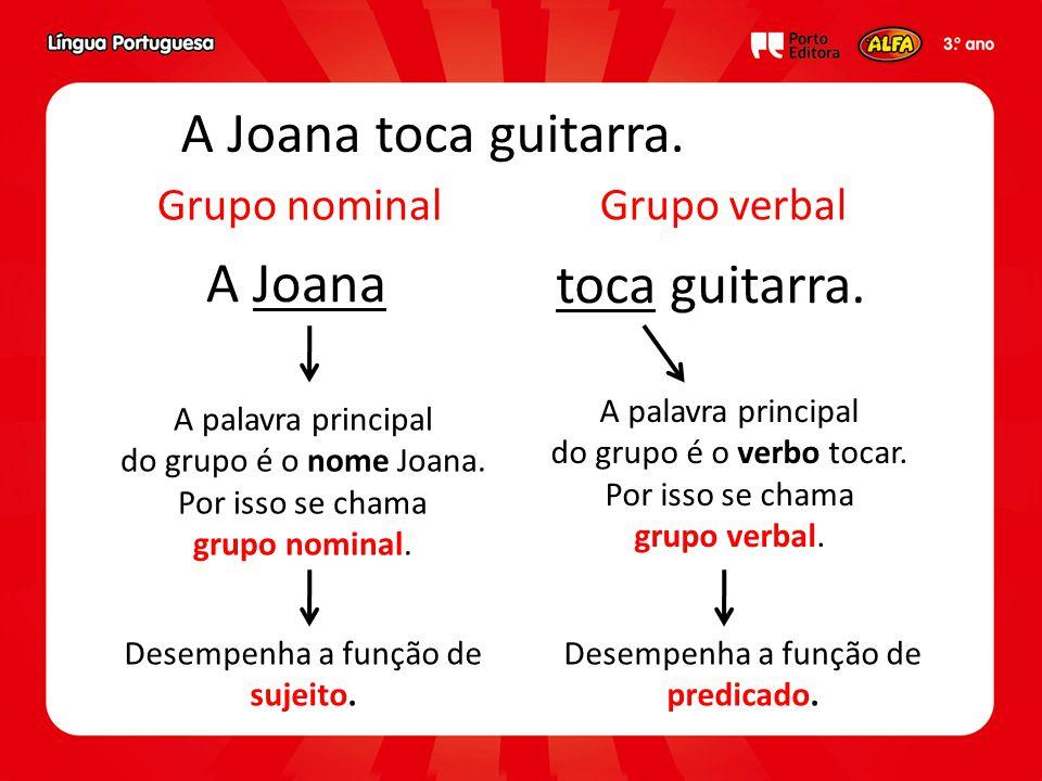 A Joana toca guitarra. A Joana toca guitarra. Grupo nominal