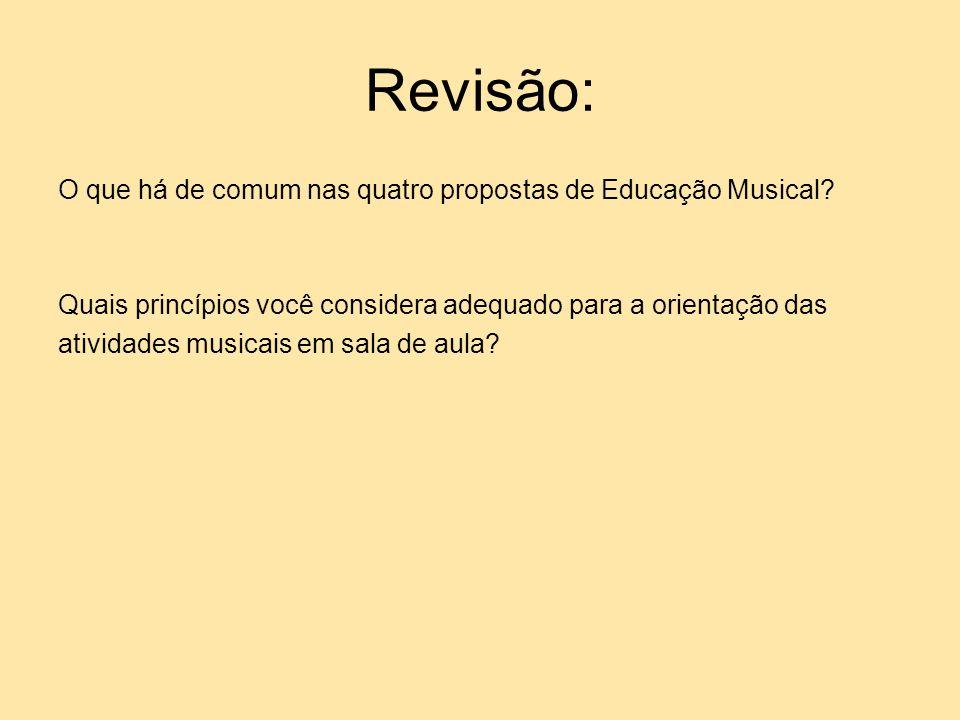 Revisão: O que há de comum nas quatro propostas de Educação Musical