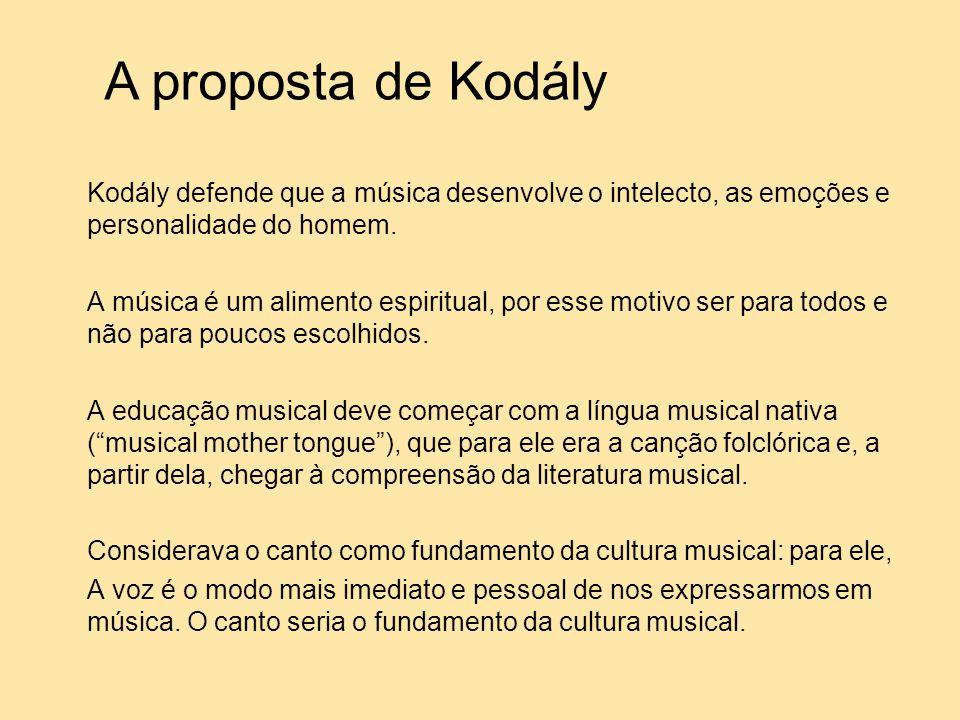 A proposta de Kodály Kodály defende que a música desenvolve o intelecto, as emoções e personalidade do homem.