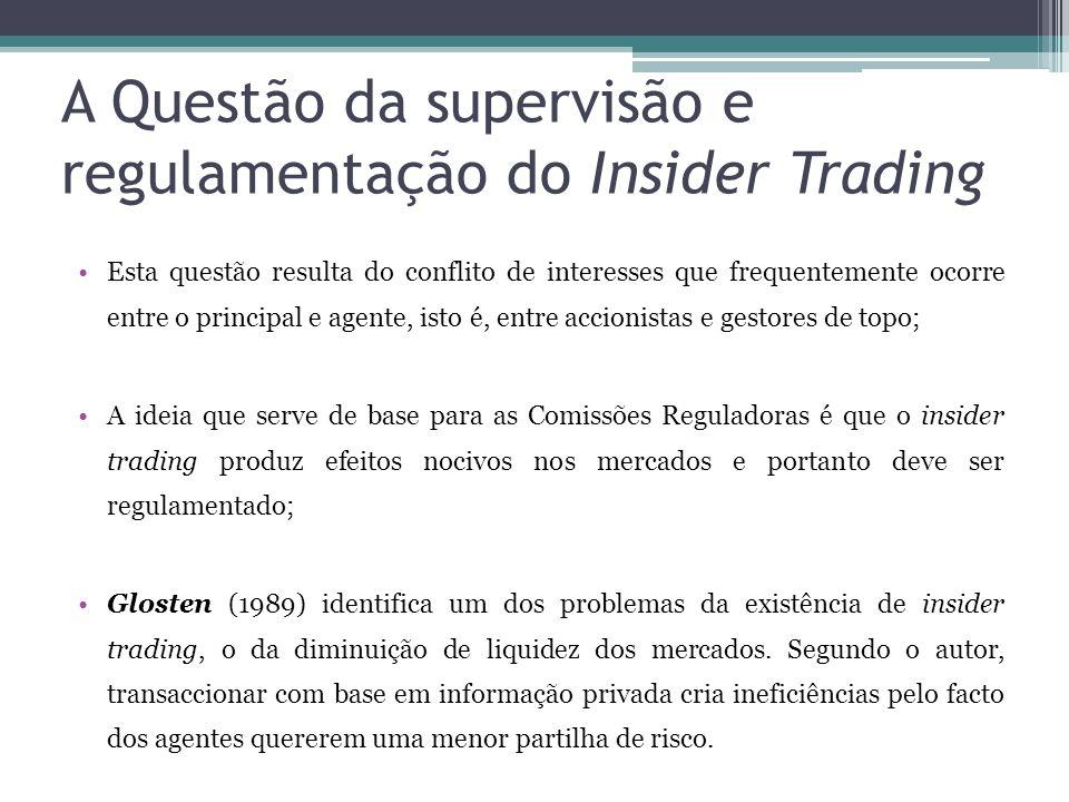 A Questão da supervisão e regulamentação do Insider Trading