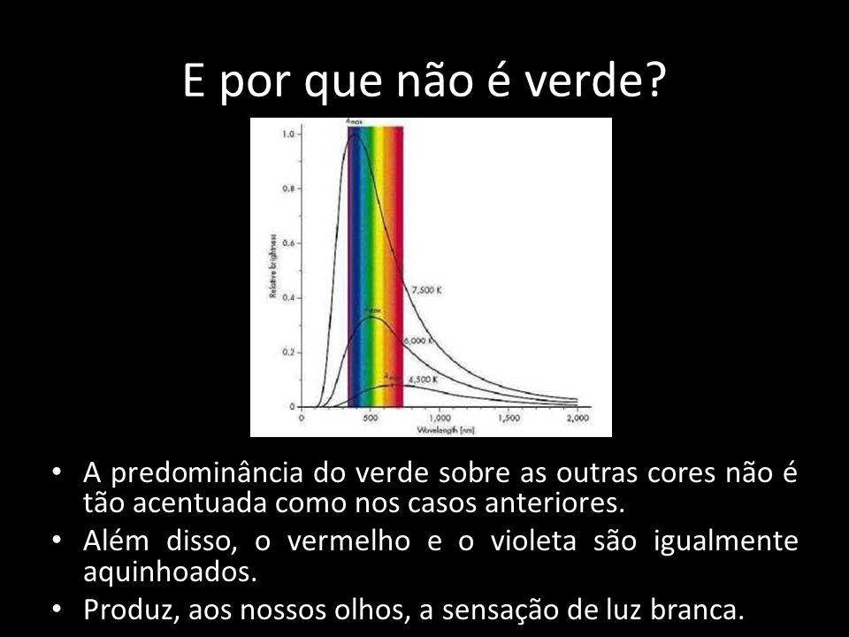 E por que não é verde A predominância do verde sobre as outras cores não é tão acentuada como nos casos anteriores.