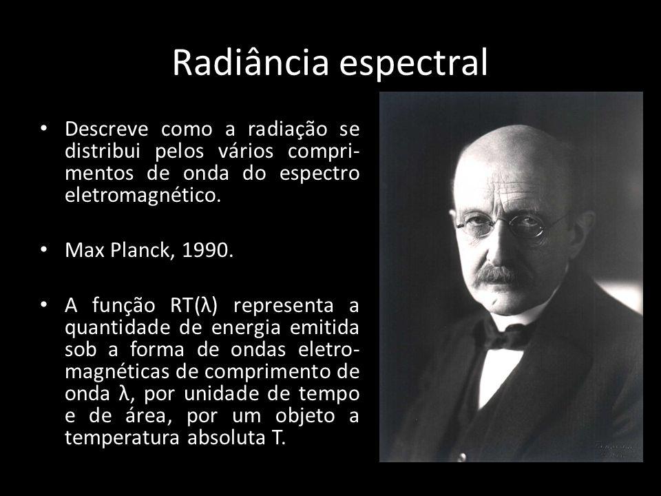 Radiância espectral Descreve como a radiação se distribui pelos vários compri-mentos de onda do espectro eletromagnético.