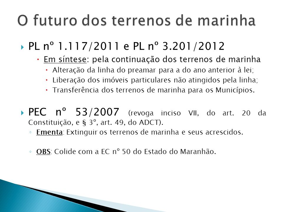 O futuro dos terrenos de marinha