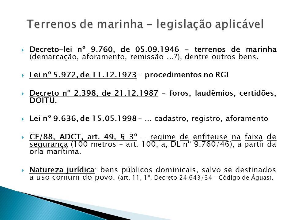 Terrenos de marinha - legislação aplicável