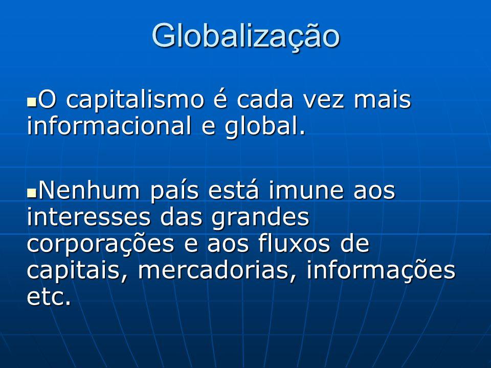 Globalização O capitalismo é cada vez mais informacional e global.