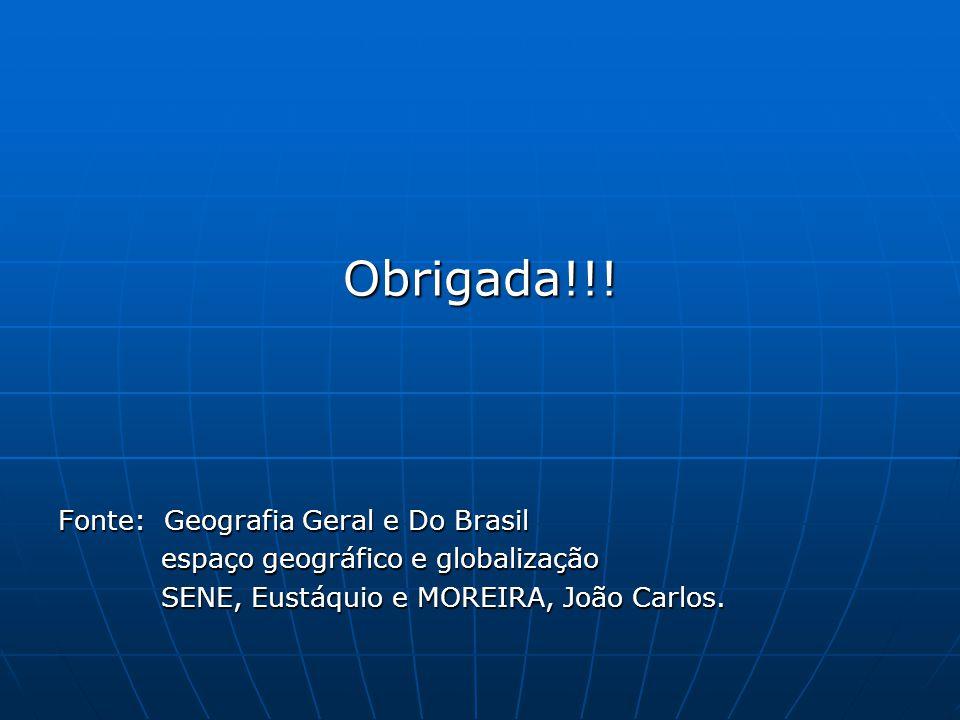 Obrigada!!! Fonte: Geografia Geral e Do Brasil