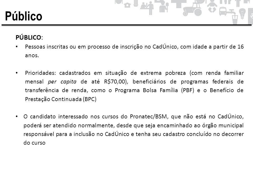 Público PÚBLICO: Pessoas inscritas ou em processo de inscrição no CadÚnico, com idade a partir de 16 anos.