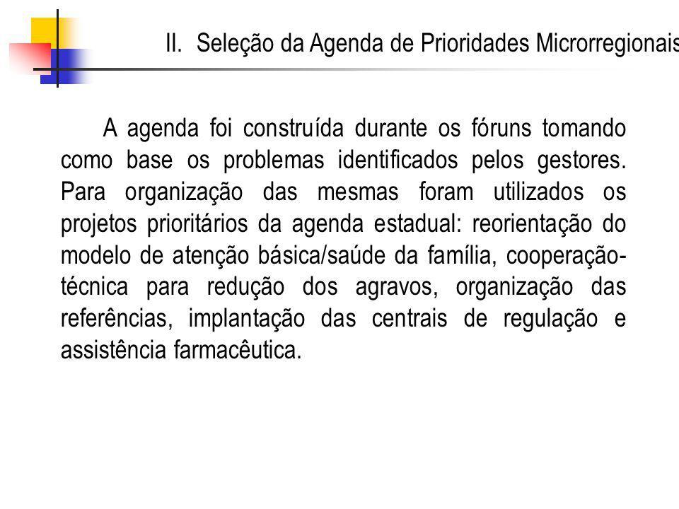 II. Seleção da Agenda de Prioridades Microrregionais