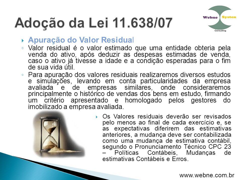 Adoção da Lei 11.638/07 Apuração do Valor Residual