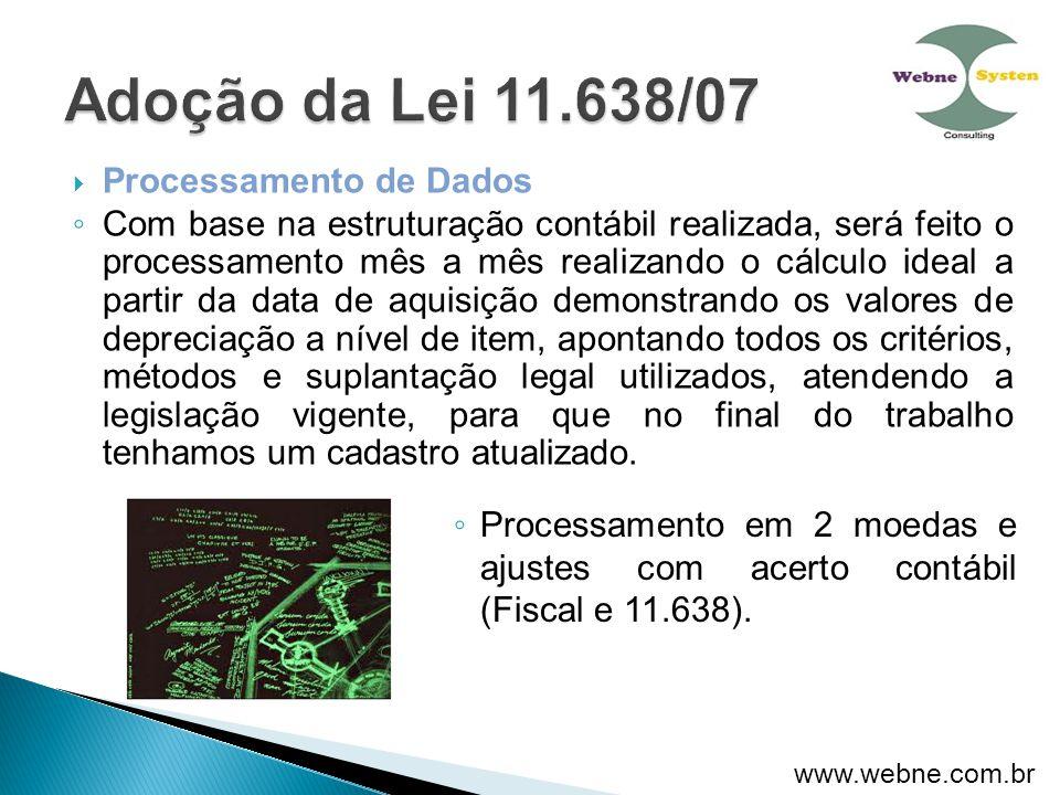 Adoção da Lei 11.638/07 Processamento de Dados