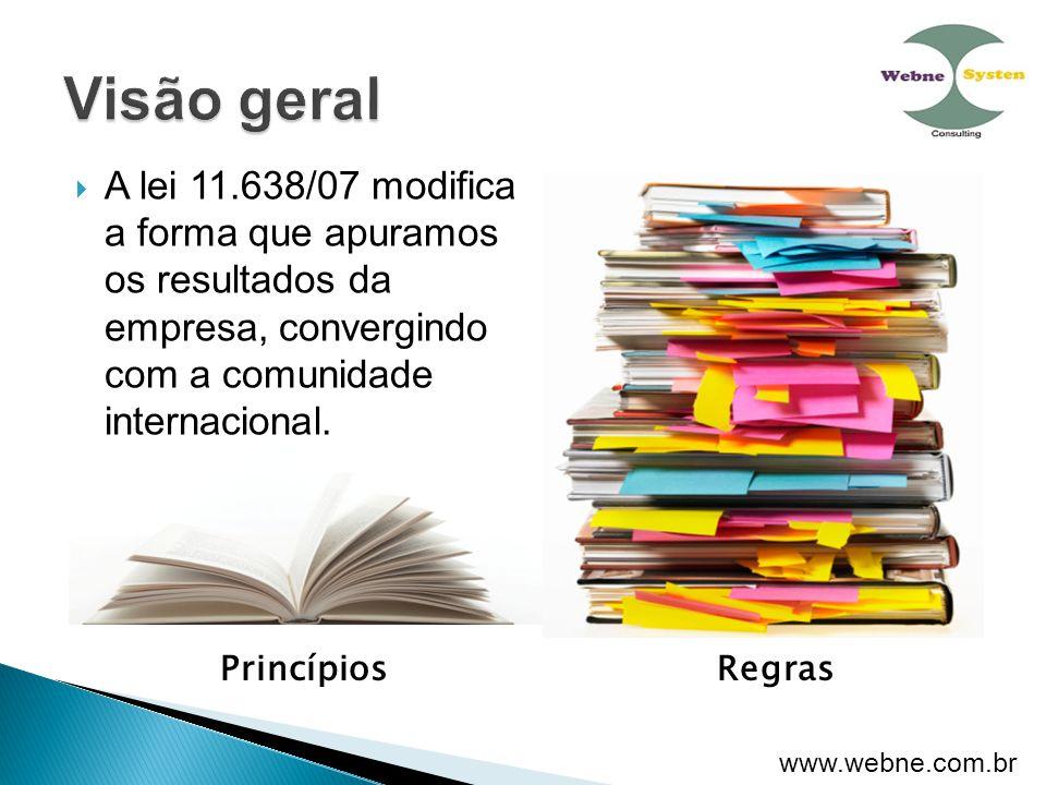 Visão geral A lei 11.638/07 modifica a forma que apuramos os resultados da empresa, convergindo com a comunidade internacional.