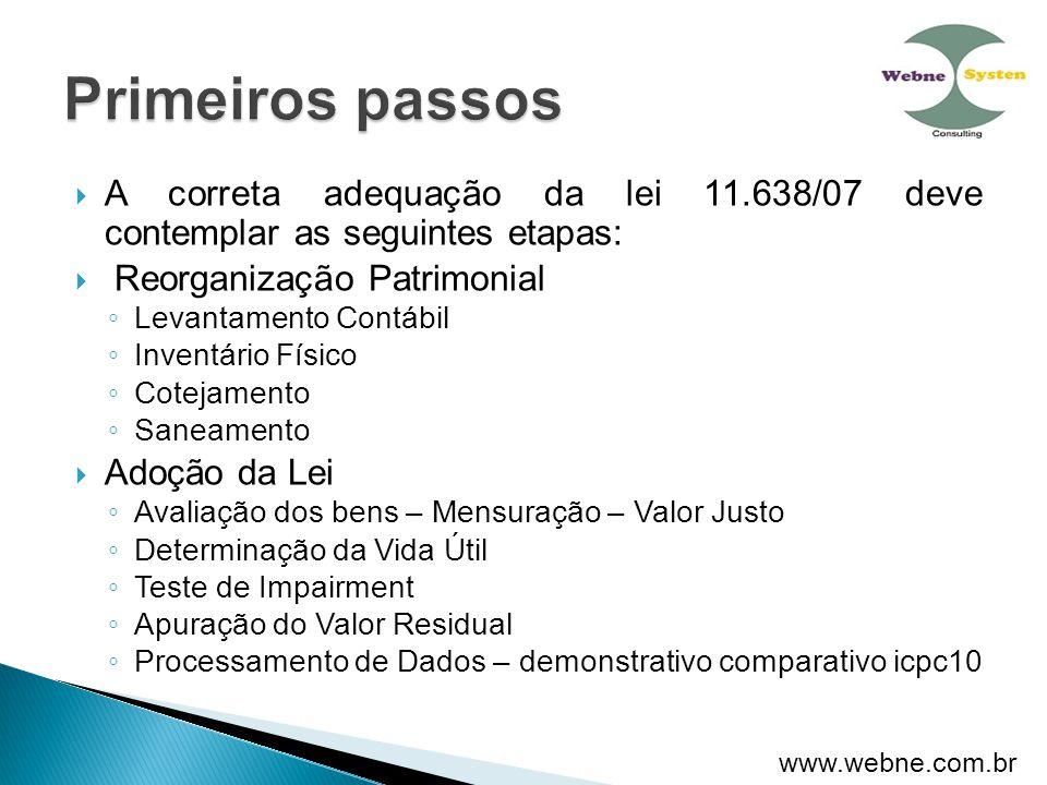 Primeiros passos A correta adequação da lei 11.638/07 deve contemplar as seguintes etapas: Reorganização Patrimonial.
