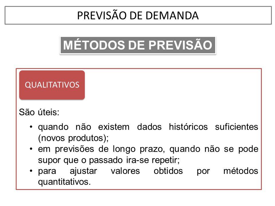 PREVISÃO DE DEMANDA MÉTODOS DE PREVISÃO QUALITATIVOS São úteis: