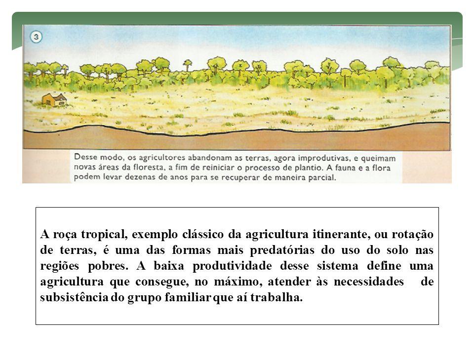 A roça tropical, exemplo clássico da agricultura itinerante, ou rotação de terras, é uma das formas mais predatórias do uso do solo nas regiões pobres.