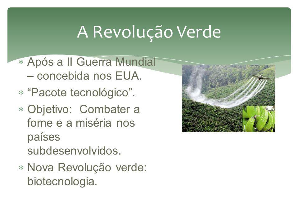 A Revolução Verde Após a II Guerra Mundial – concebida nos EUA.