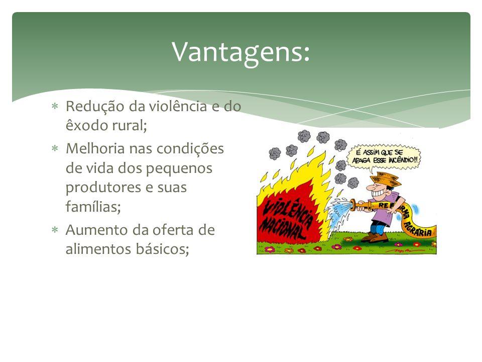 Vantagens: Redução da violência e do êxodo rural;