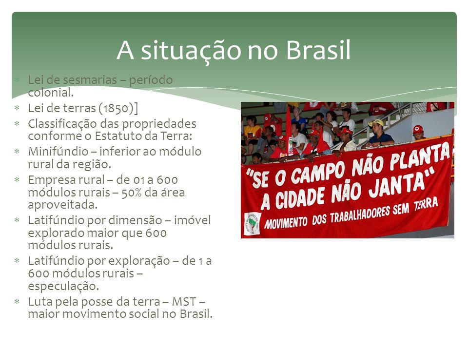 A situação no Brasil Lei de sesmarias – período colonial.