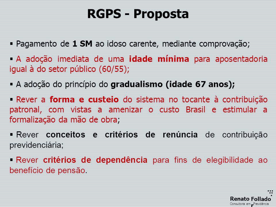 RGPS - Proposta Pagamento de 1 SM ao idoso carente, mediante comprovação;