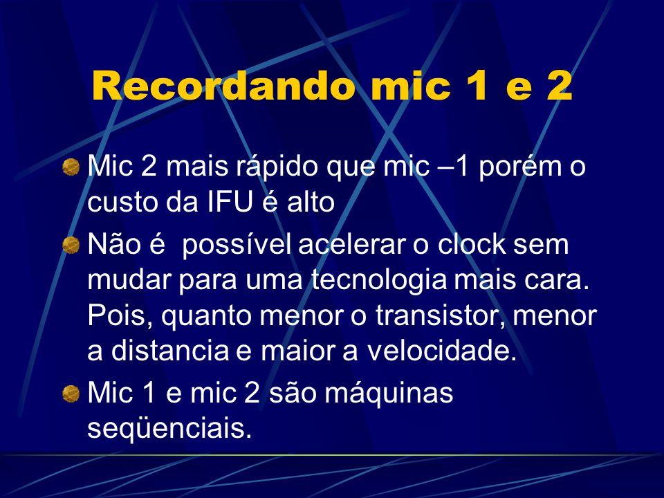 Recordando mic 1 e 2 Mic 2 mais rápido que mic –1 porém o custo da IFU é alto.