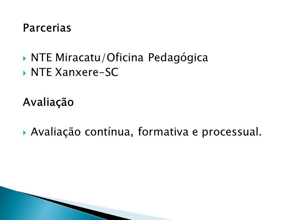 Parcerias NTE Miracatu/Oficina Pedagógica. NTE Xanxere-SC.