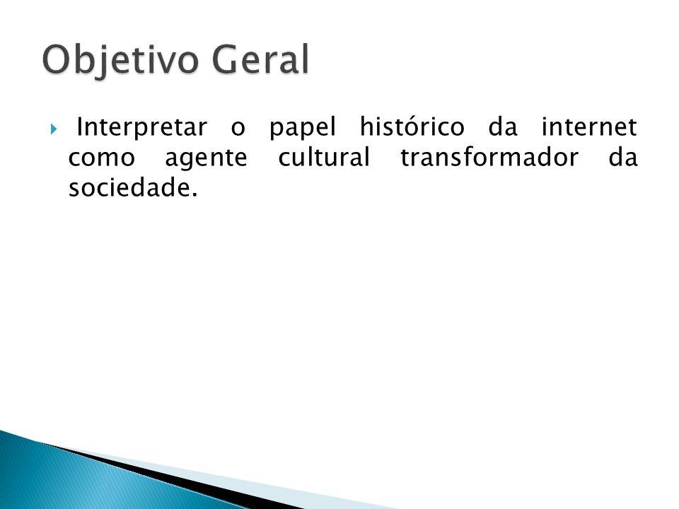 Objetivo Geral Interpretar o papel histórico da internet como agente cultural transformador da sociedade.