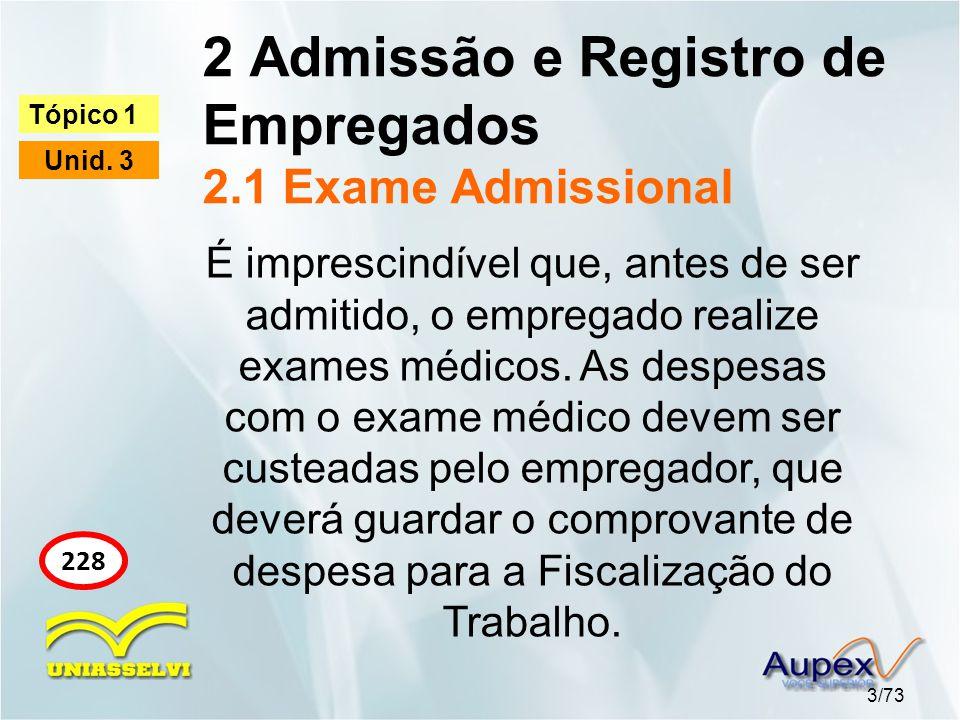2 Admissão e Registro de Empregados 2.1 Exame Admissional