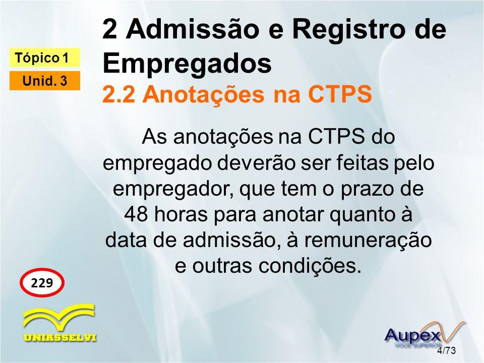 2 Admissão e Registro de Empregados 2.2 Anotações na CTPS