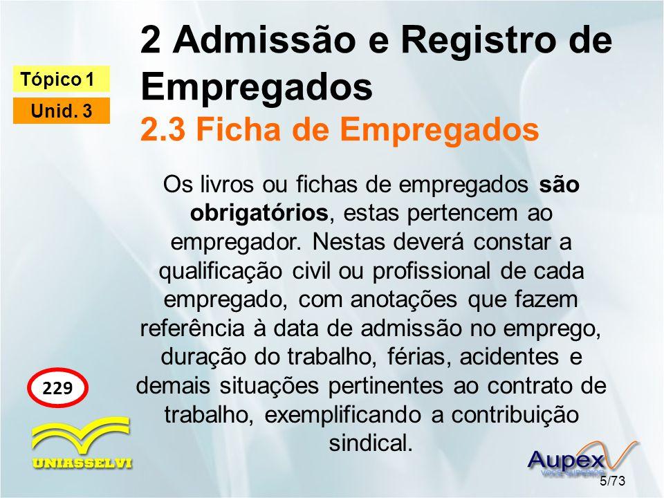 2 Admissão e Registro de Empregados 2.3 Ficha de Empregados