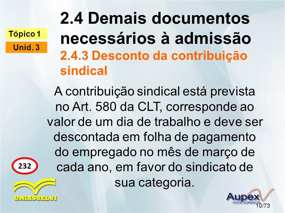 2. 4 Demais documentos necessários à admissão 2. 4