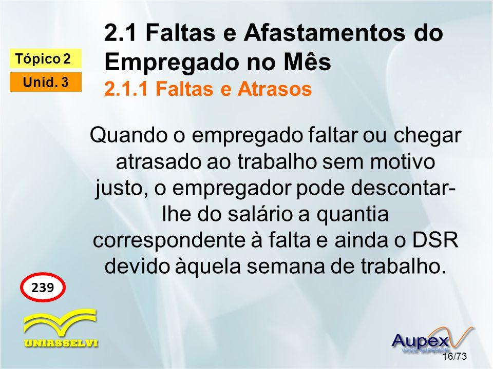 2.1 Faltas e Afastamentos do Empregado no Mês 2.1.1 Faltas e Atrasos