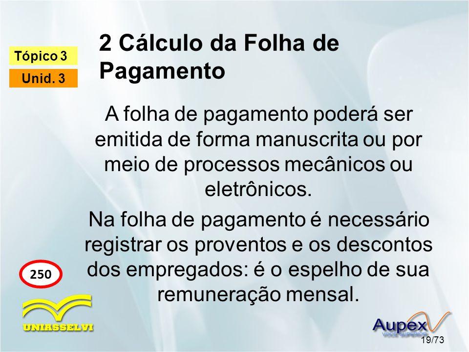 2 Cálculo da Folha de Pagamento