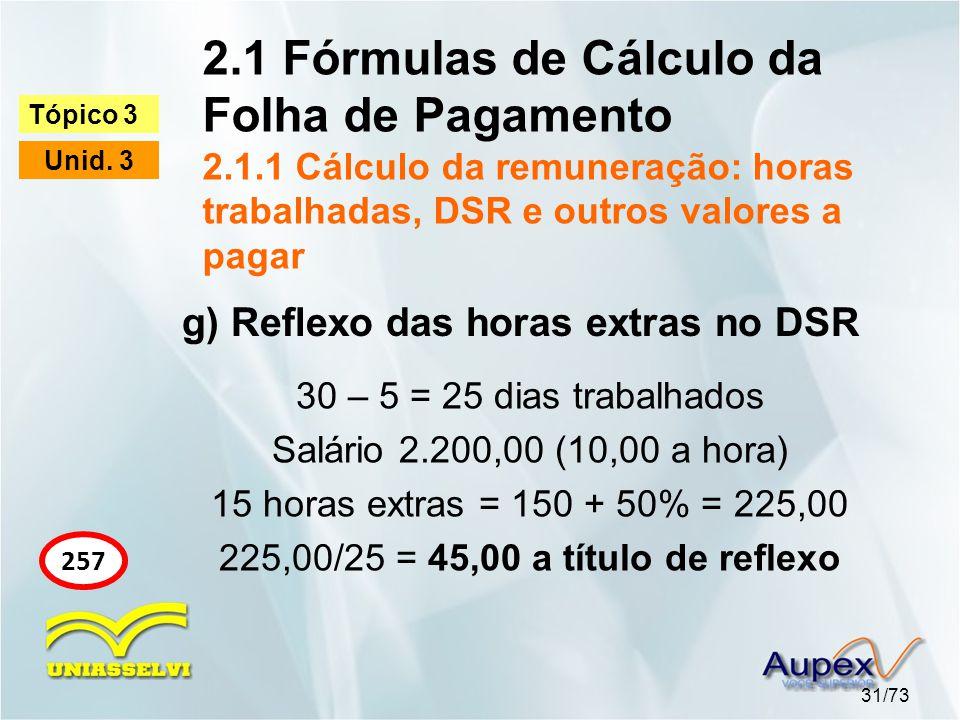 2. 1 Fórmulas de Cálculo da Folha de Pagamento 2. 1