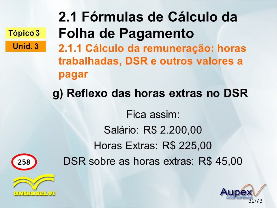 DSR sobre as horas extras: R$ 45,00