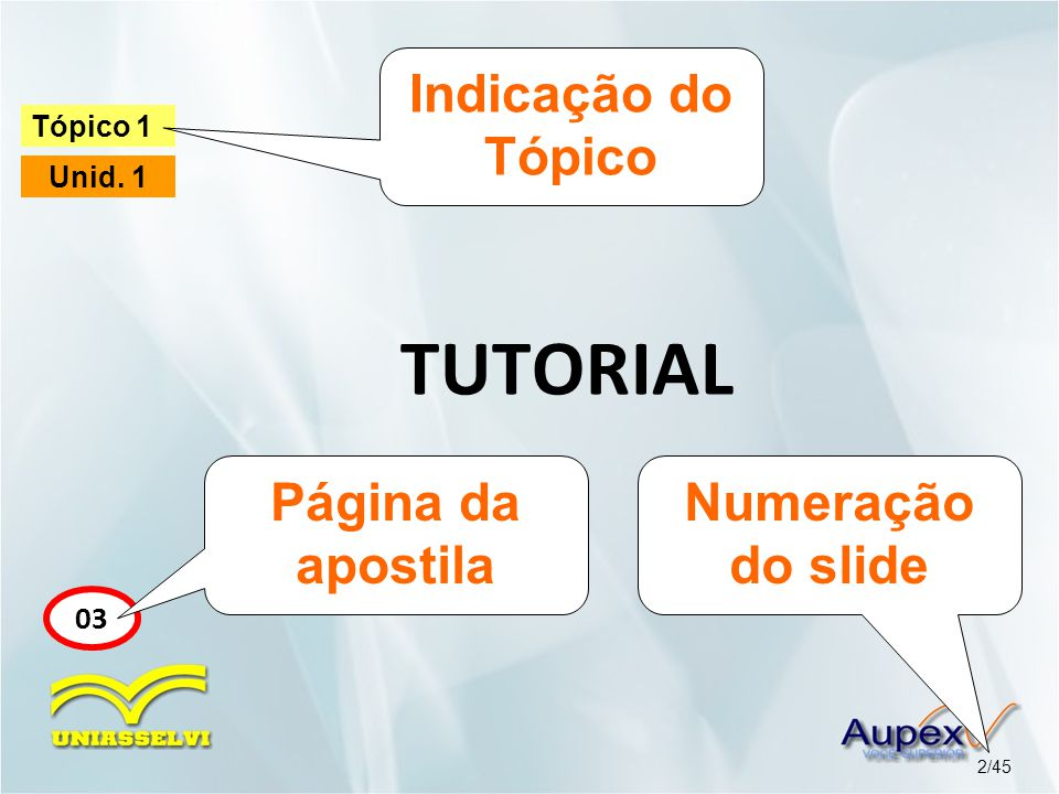 TUTORIAL Indicação do Tópico Página da apostila Numeração do slide 03