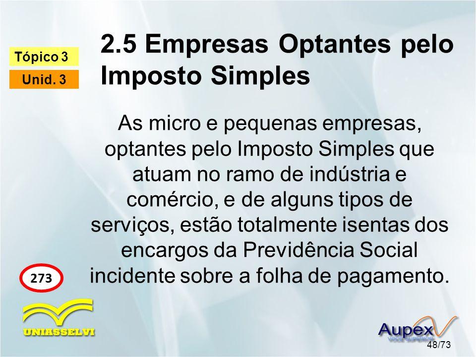 2.5 Empresas Optantes pelo Imposto Simples