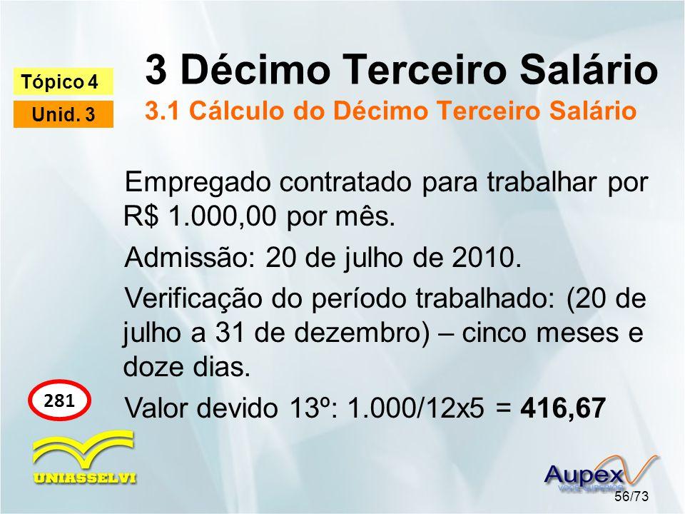 3 Décimo Terceiro Salário 3.1 Cálculo do Décimo Terceiro Salário